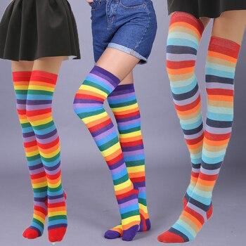Fashion Trend Rainbow Stripes knee socks women plus Size Thin Over The Knee legs ladies Socks high quality Wild High Knee Socks цена 2017