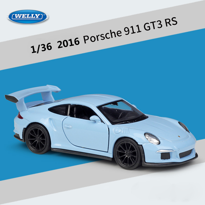WELLY Diecast 1:36 Scale 2016 Porsche 911 GT3 RS Sports Car Pull Back Car Model Car Metal Alloy Toy Car For Kid Gifts Collection