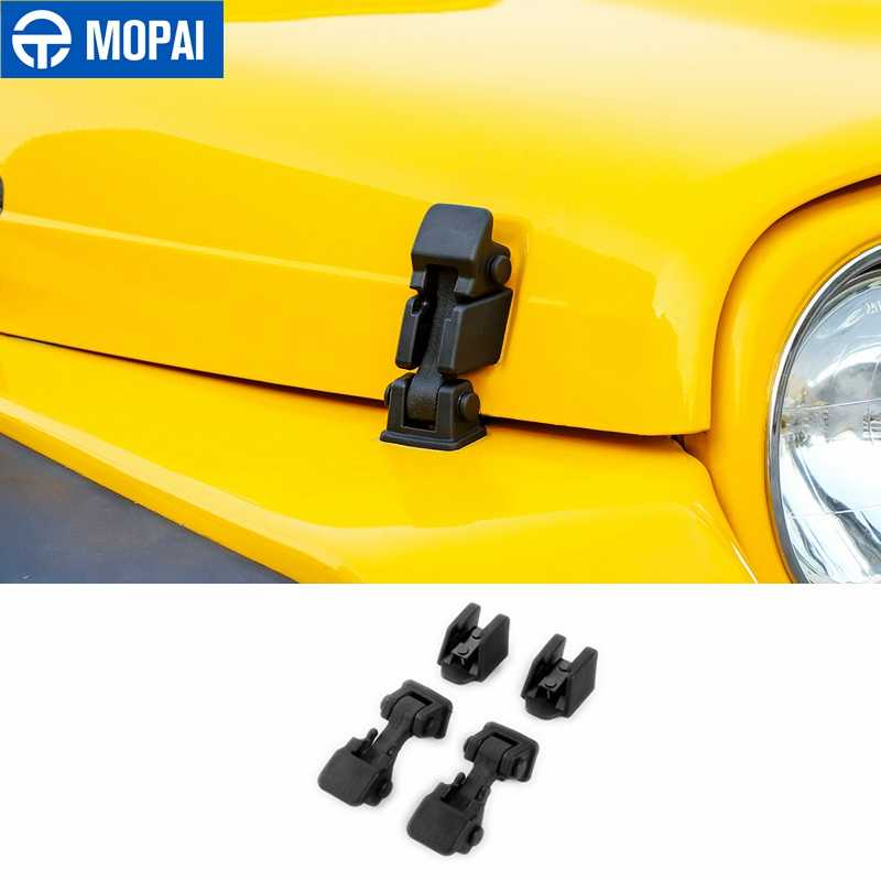 MOPAI For Jeep Wrangler TJ 1997-2006 Black Engine Lock Hood Latch Catch Cover ABS Exterior Second Generation Car Styling