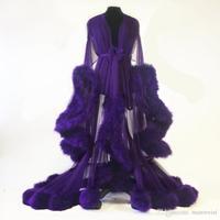 2020 Fur Women Robe Long Sleeve Sexy Purple Nightgown Deep V Neck Ruffles Sleepwear Bathrobe Pajamas New Prom Bridesmaid Shawel