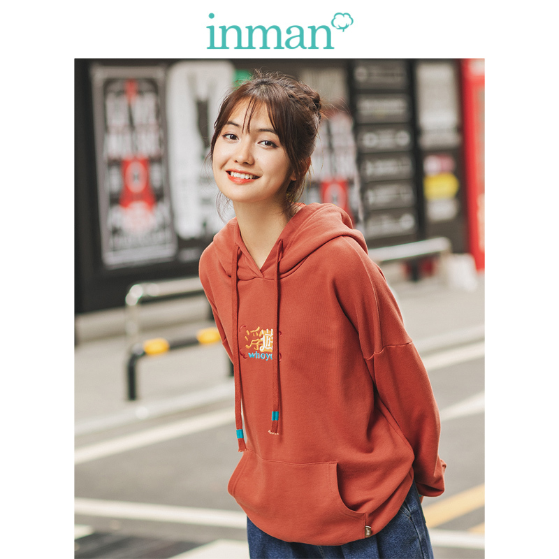 INMAN 2019 Winter New Arrival Fashion Loose All Matched Print Drop-shoulder Sleeve Women Hoodies
