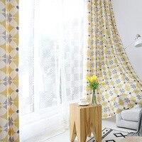 Estilo americano moderno cortinas de linho algodão para o quarto geométrico para sala estar jantar estilo nórdico