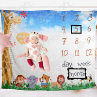 Happy First Birthday Party Baby Monthly Milestone Blanket Newborn Photography Backdrop Birthday Jungle Animals Accessor