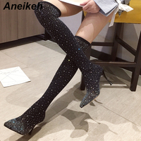 Aneikeh 2020 Spring Autumn Fashion Crystal Stretch Fabric Sock Boots Pointy Toe Over the Knee Heel Thigh High Pointed Toe Boot