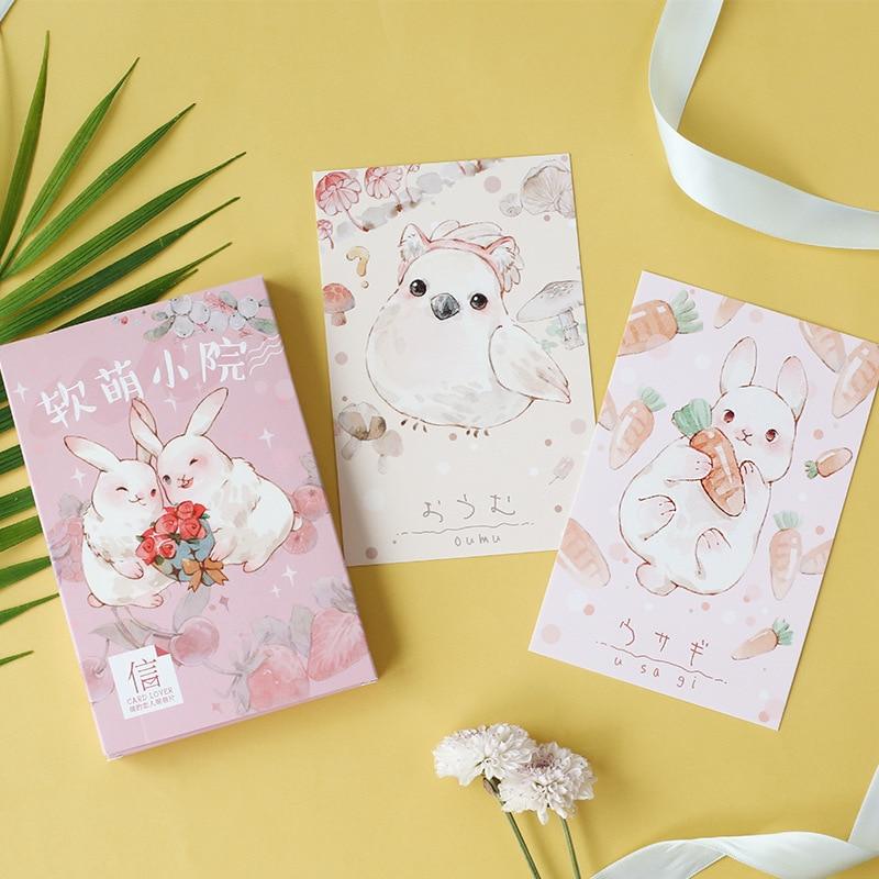 30 Pcs/lot Cute Animal Rabbit Fox Postcard Set Letter Envelope Greeting Cards Gift New Years Postcards Creative