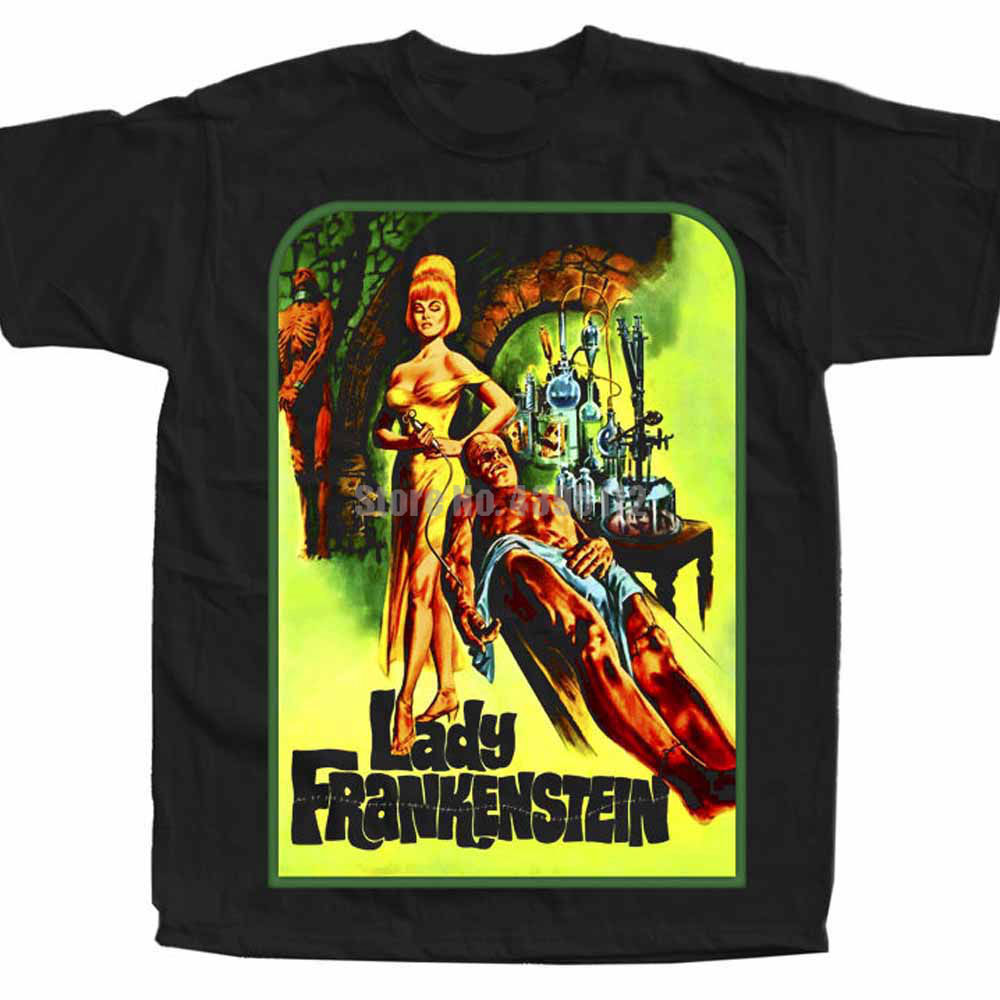 Lady Frankenstein Movie Poster Men Rock Tshirt Horror T-Shirt Hot Lunch Tshirts Like T-Shirts Bull Terrier Luqbyv image
