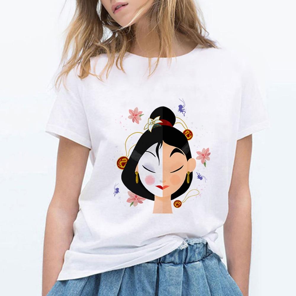 Mulan Princess Women Clothes New Arrival Harajuku T Shirts Women Gym Streetwear Punk Ulzzang Kpop Tee Shirt Femme