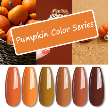 MIZHSE Gel Varnish Nail Polish 7ML Pumpkin Series Nail Gel Pure Color Soak Off Semi Permanant UV Nail Art Autumn Series