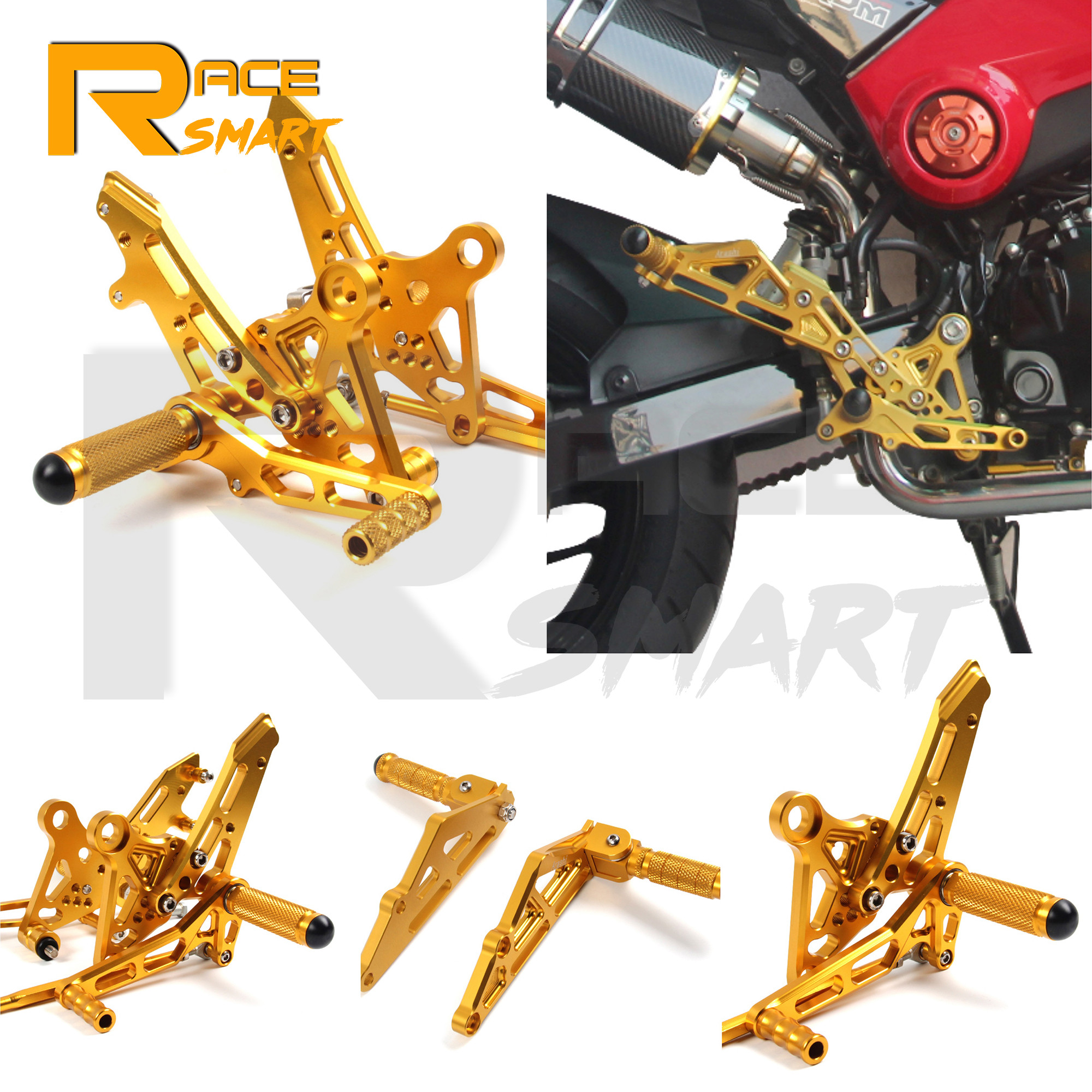 Motorcycle CNC Aluminum Adjustable Rear Set <font><b>Rearsets</b></font> Parts Footrest Foot Rest For HONDA Grom <font><b>MSX125</b></font> SF MS 125SF 2017 2018 2019 image