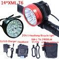 Супер мощный яркий налобный фонарь 2в1  головной светильник  14 x XM-L T6  светодиодный велосипедный светильник  велосипедная фара + 6*18650 аккумуля...