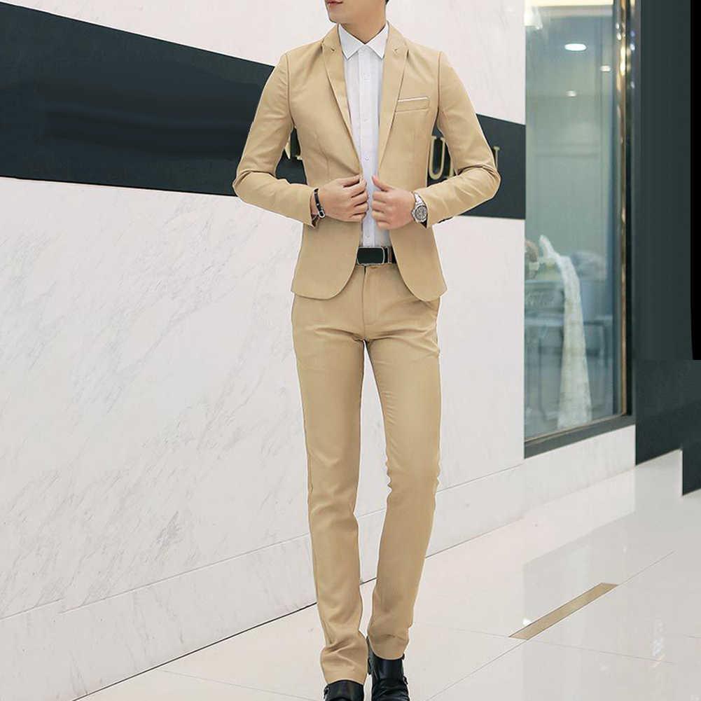גברים חתונה חליפת סט 2pcs זכר טרייל Slim מתאים חליפת עבור גברים תלבושות עסקים רשמי traje hombre קלאסי שחור תלבושות homme