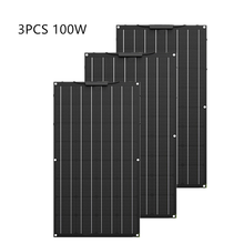 Painel solar flexível etfe de alta qualidade, 300w, igual a 3 peças de 100w, painel solar, célula 12 carregador de bateria solar v