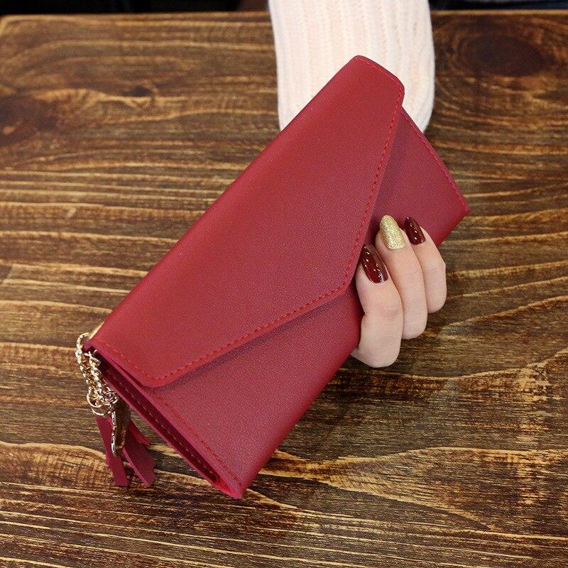 Модные женские кошельки, простые кошельки на молнии, черные, белые, серые, красные, длинный секционный клатч, кошелек из искусственной кожи, сумка для денег - Цвет: Red