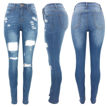 New Ladies Ripped Jeans Fashion Personality Casual Female Skinny Denim Slim Pants High Waist Pencil Best Selling