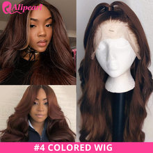 #4 Colored Lace Front Human Hair Wigs For Black Women Peruvian Body Wave Human Hair Wigs Pre Plucked Remy AliPearl Hair Lace Wig(China)