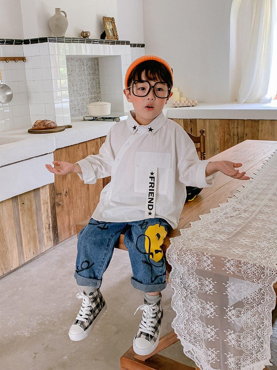 Boy's Cotton Long-Sleeved Shirt Fashion Big Boy Boy's Baby Shirt Children's 2021 New Style Autumn Coat 4