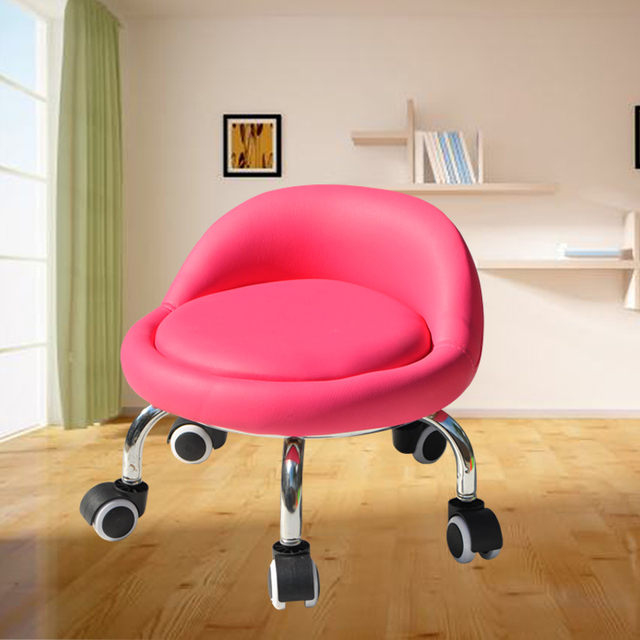 With Baby Small Stool Dormitory Pulley Small Stool Round Stool Wheeled Leather Stool Toddler Adult Beauty Sewing Low Stool 3