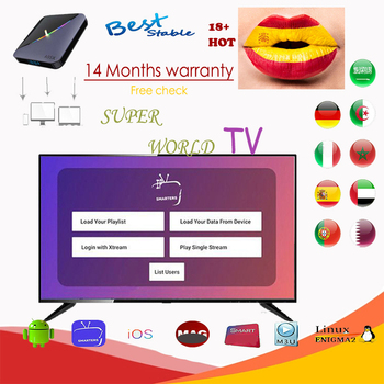 IPTV Spain 14M support Europe tvbox Sweden Portug Arabic Italy xxx UK Adult m3u smart TV Ma9 tv box Android iptv no App included best stable a95x support smart iptv from europe 1 14m services android tv box olny a95 x smart tv set top box hot