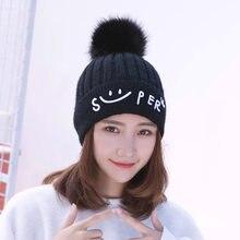 2020 nova malha chapéus de inverno feminino duplo grosso e quente boné sólido beanies lã toque pompons adorável gorro coreano