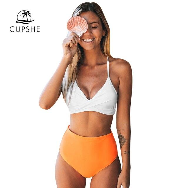 CUPSHE Solid White Bikini with Orange High-Waisted Bikini Sets Sexy Swimsuit Two Pieces Swimwear Women 2020 Beach Bathing Suits 3