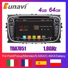 Eunavi 2 Din Android Auto Dvd Multimedia Speler Gps Voor Ford Focus 2 Ii Mondeo S-MAX C-MAX Galaxy 2Din 4G 64Gb Touch Screen