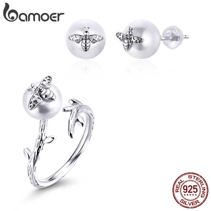Bamoer gerçek 925 ayar gümüş takı setleri arı üzerinde inci ayarlanabilir parmak yüzük kadınlar için ve saplama küpe takı ZHS188