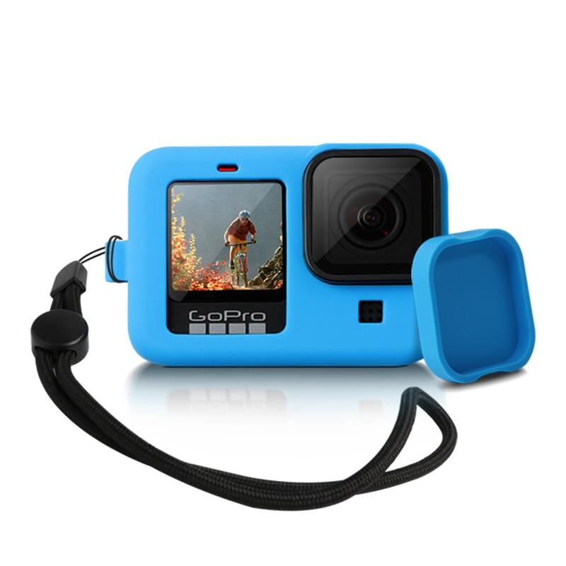Siliconen Beschermhoes Voor Gopro Hero 9 8 Zwart Mouw Behuizing Case Frame Met Lanyard Accessoire Voor Go Pro 9 8 Case 1