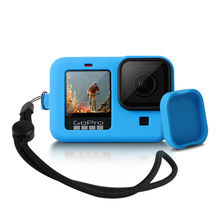 Silicon Schutzhülle für GoPro Hero 9 8 Schwarz Hülse Gehäuse Fall Rahmen mit Lanyard Zubehör Für Go pro 9 8 fall cheap T ACYML For gopro 9 8 case CN (Herkunft) Bundle 1 Silikon black blue Environmental protection silicone 7 8*5 1*3cm Suitable for gopro 9 8