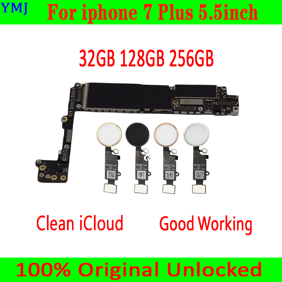 32GB/128GB/256GB for iphone 7 Plus 5.5 inch Motherboard With/Without Touch ID,100% Original unlocked for iphone 7 Plus Mainboar-in Mobile Phone Antenna from Cellphones & Telecommunications