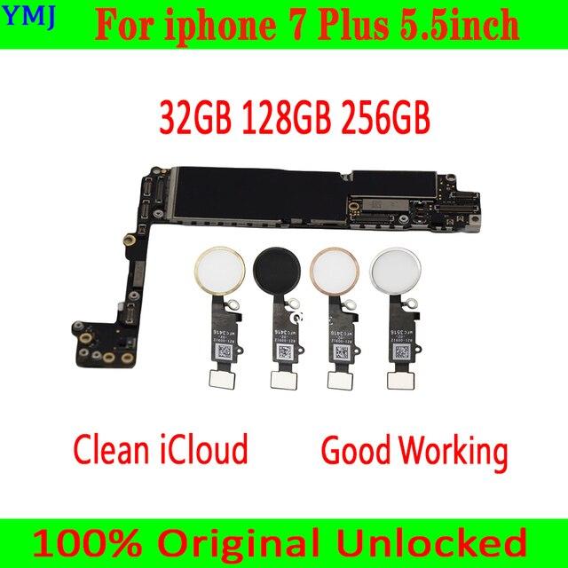 32GB/128GB/256GB iphone 7 artı 5.5 inç anakart/Touch ID olmadan, 100% orijinal unlocked iphone 7 artı Mainboar