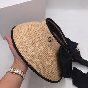 Image 3 - ラフィット草トップ帽子夏の韓国語バージョンのフォールディングサンシェードわら帽子リボン弓日焼け帽子太陽帽子