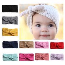 Solid Rabbit Ear Baby Headbands For Girls Handmade Knit Cotton Elastic Bow Knot Baby Turban Headband Childern Hair Accessories цена и фото