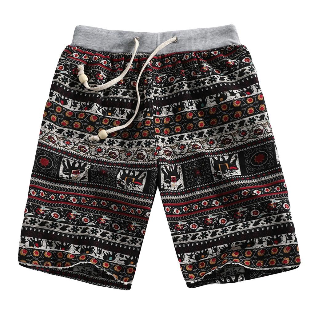 Shorts Men's Short Summer Casual Casual Ethnic Style Printed Loose Linen Shorts Fashion Pant  Loose Beach Shorts Men