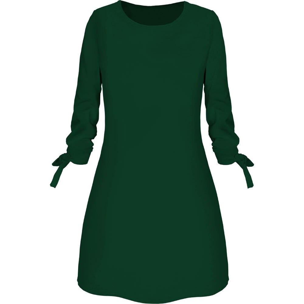 vestido de mujer Women Fashion O neck Solid Bow Elegant Straigth Dress Spring Loose Mini Dresses