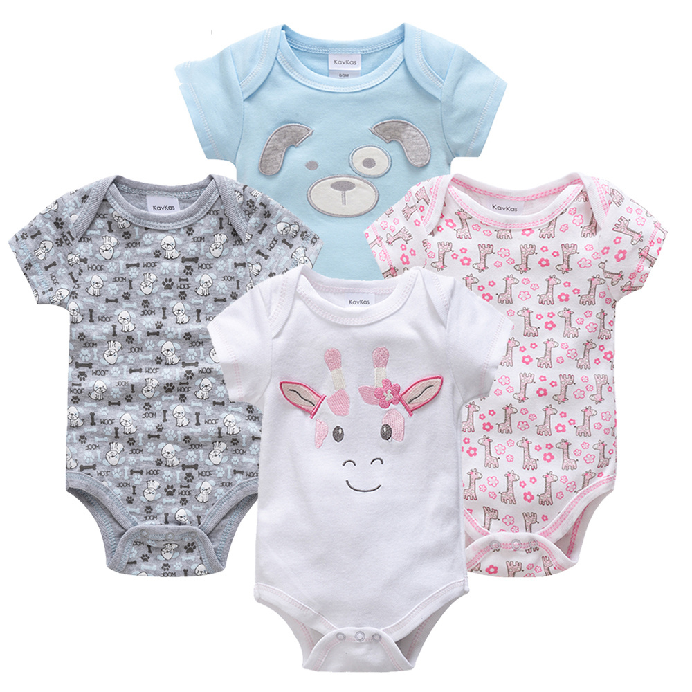 Honeyzone Пижама для младенцев 4 шт./компл. короткий рукав новорожденных Пижама для маленьких мальчиков/младенцев Одежда для маленьких мальчиков bossa nova - Цвет: HY20802082