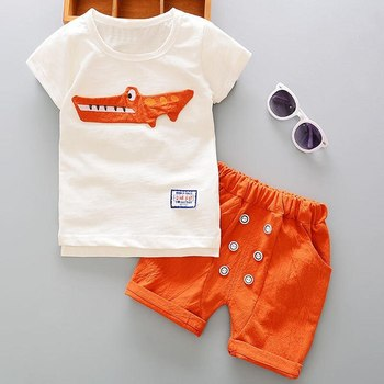 1-5Y New Boutique summer children clothing Kids boys sets fashion linen baby Animal pattern for kids