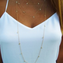 Multilayer Long Necklace Chain Women Simple Crystal Necklaces Jewelry Lady Silver Color TRENDY Aesthetic Collares