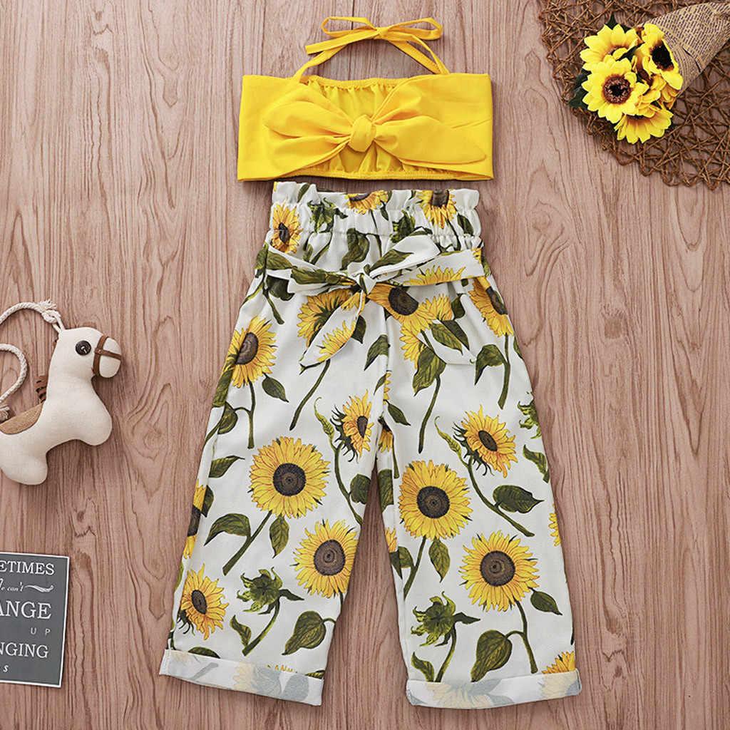 Kids Baby Girls One Shoulder Sunflower Vest Tops+Bow Floral Skirt Sets