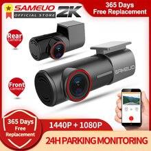 Sameuo u700 traço cam frente e traseira fhd 1080p carro dvr câmera traço gravador de vídeo automático visão noturna app 24h monitoramento estacionamento