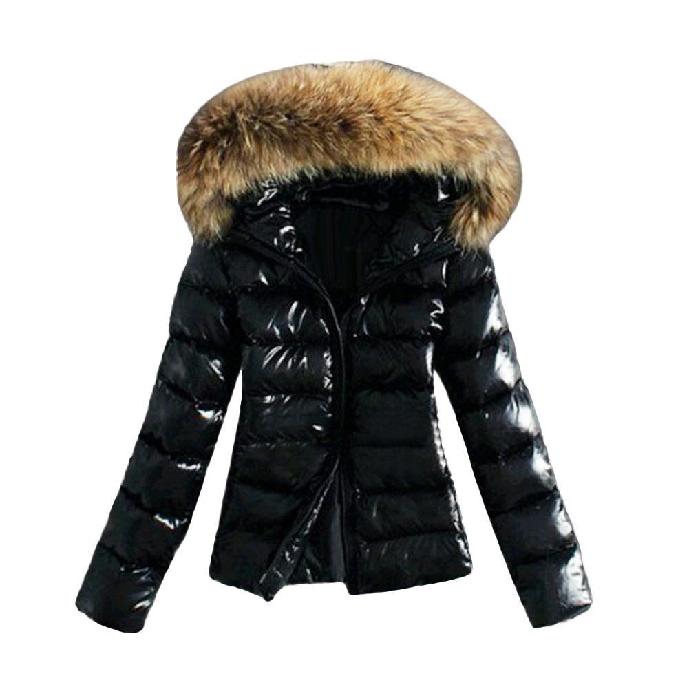 Korean Version Plus Velvet Jacket 2019 Bomber Jacket Women's Faux Fur Collar Hooded Zipper Puffer Winter Warm Outwear Coat