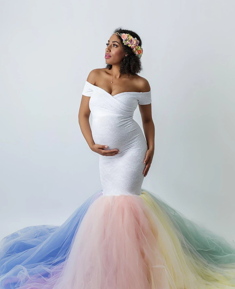 Lace Maternity Photography Props Dresses Rainbow Mesh Pregnancy Dress Long Pregnant Women Maxi Maternity Gown For Photo Shoots (4)