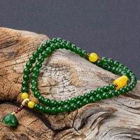 Natural A green jade bracelet bangle jadite jade beads lotus bracelets for women amber jade jewelry 6mm necklace