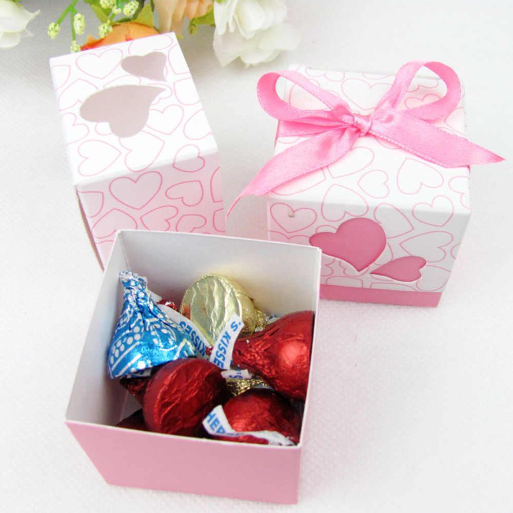 10 pçs amor criativo oco lembrança do casamento caixa de presente de papel pequeno caso doces chocolates caixa de embalagem com fita diy caixas de favor