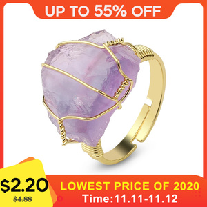 CSJA Natural Stone Irregular Wire Wrap Women Rings Healing Purple Crystal Fluorite Gold-color Resizable Fashion Finger Ring G339