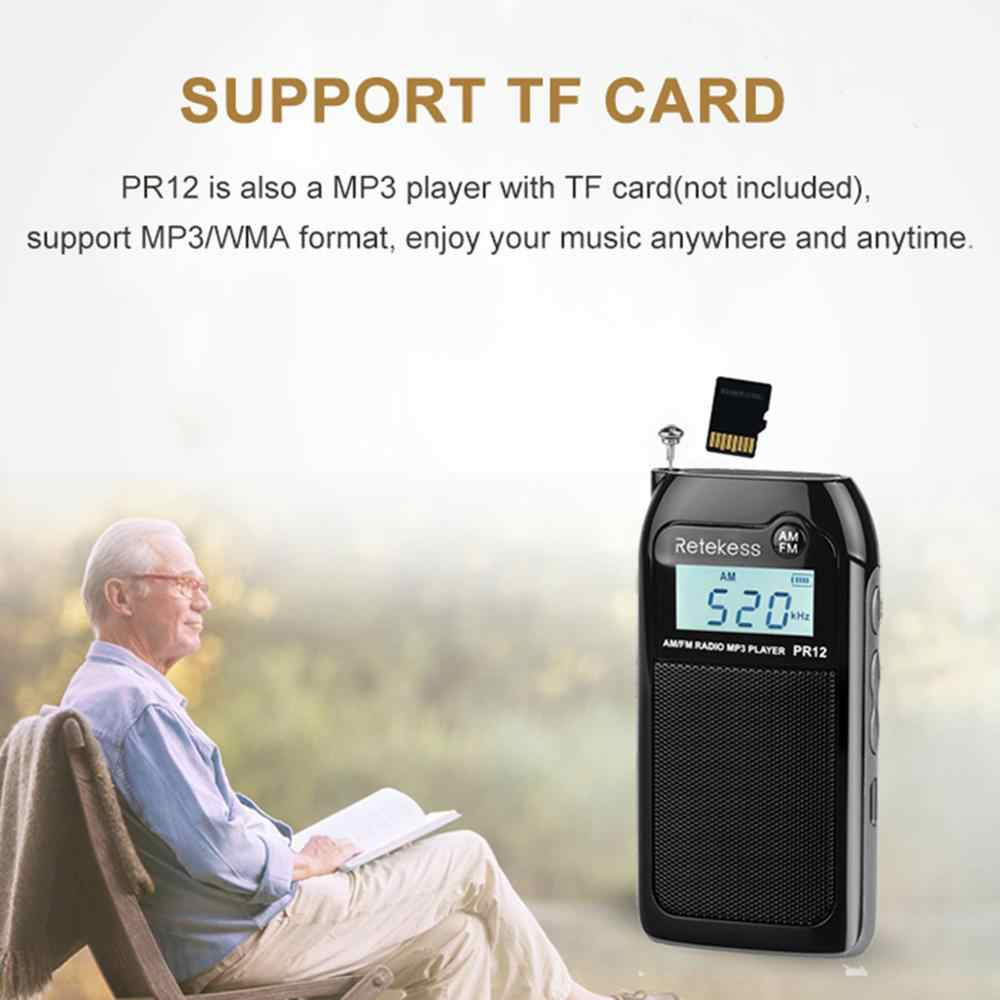 RETEKESS PR12 ラジオ FM AM ミニポケット USB ラジオ受信機 Mp3 携帯受信機デジタルステレオサポート TF カード高齢者のためのギフト