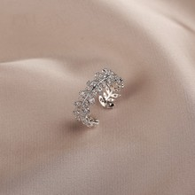 New fashion sweet lovely shiny crystal Women Rings Korean 2020 elegant Hollow fine leaves modelling adjustable Rings Jewelry