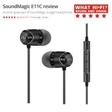 Soundmagic fone de ouvido com microfone e11c, fone de ouvido intra auricular universal com controle remoto de 3.5mm e conexão compatível com apple e android
