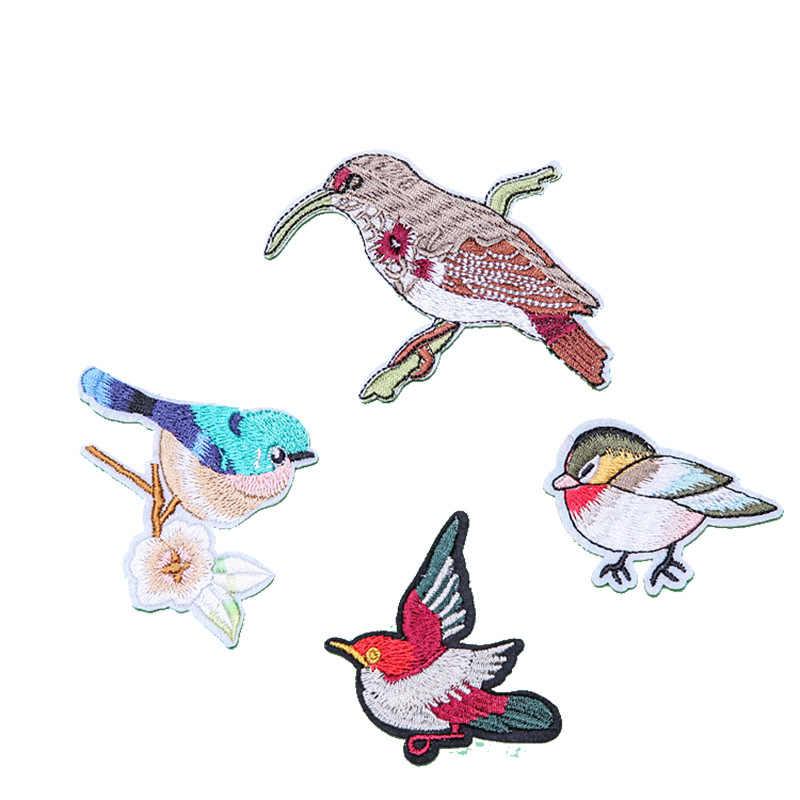 1 piezas nuevo pájaro encantador de animales parches de hierro en apliques bordados lindo parche de tela bolsas de ropa bricolaje Decoración parches