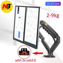 Подставка с пневмоупором nb F160, настольная подставка для двух мониторов 10 дюймов-27 дюймов, два держателя с углом поворота 360 градусов, держате...