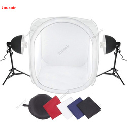 Photo Studio 32x32 Shooting Tent Light Cube Kit with 2xLight Bulb 2x40Light Tripod Stand + 4 Colors Backdrops CD50 T07 RR1